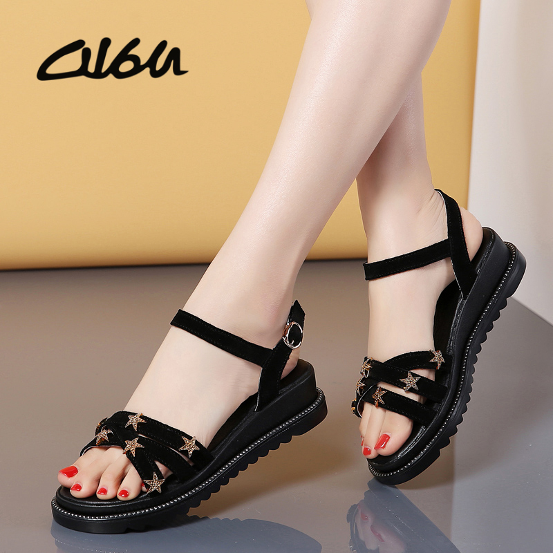 O16U Women sandals summer   leather     Suede   flat wedge sandals Platform sandals ladies ankle strap Party Bling flat sandals shoes