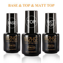 MIZHSE Top Basis Coat Soak Off Gel Nagellack Set Nail Primer Matt Top Mantel Für Nägel UV Gel Keine wischen Top Transparente Nagel Kunst(China)