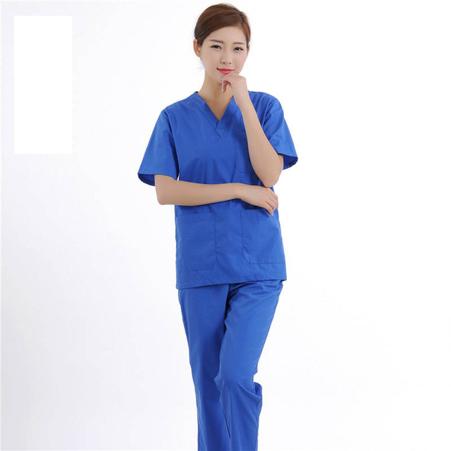 edf7abfcd13 2017 Short Sleeve V-Neck Hospital Scrub Sets Medical Surgical Uniforms  Female Doctors Scrubs Uniforms