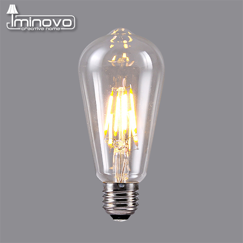 IMINOVO 10pcs LED Filament Bulb Light E27 ST64 Vintage LED Edison Bulbs Retro Glass Dimmable Lamp 2W 4W 6W 8W AC110-220V Office retro lamp st64 vintage led edison e27 led bulb lamp 110 v 220 v 4 w filament glass lamp