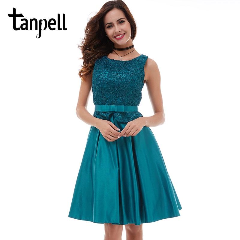Tanpell Short Blue Homecoming Dress Sexy Black Lace Knee Length Sleeveless A Line Dress Cheap Girls