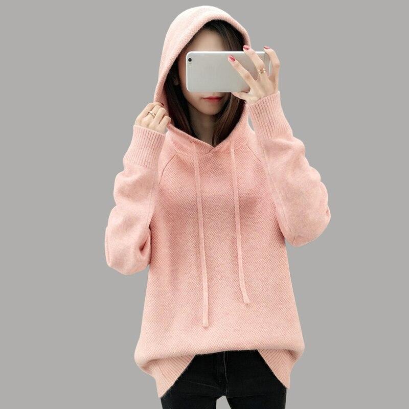 2019 printemps nouveau décontracté à manches longues chandail femmes mode tricoté épais chandail à capuche rose lâche pulls femmes vêtements