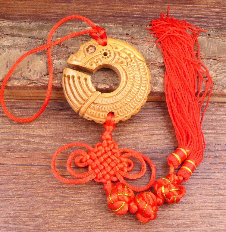 Long Yi Chi dragon bois sculpture pendentif pendentif zodiaque dragon univers voiture Jushi 2050215