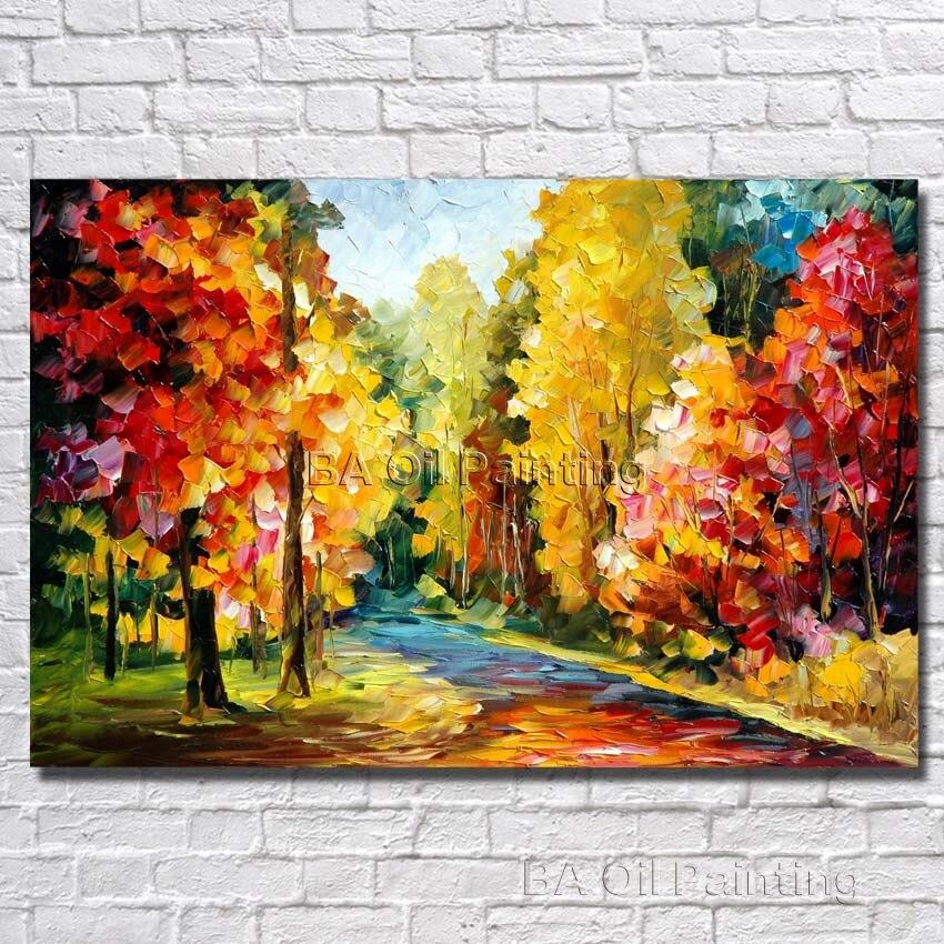 Tienda Online Hermosa moderna vida Árboles paisaje pinturas al óleo ...