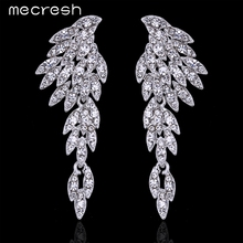 Mecresh 4 Colors Eagle Crystal Bridal Drop Long font b Earrings b font with Stones for