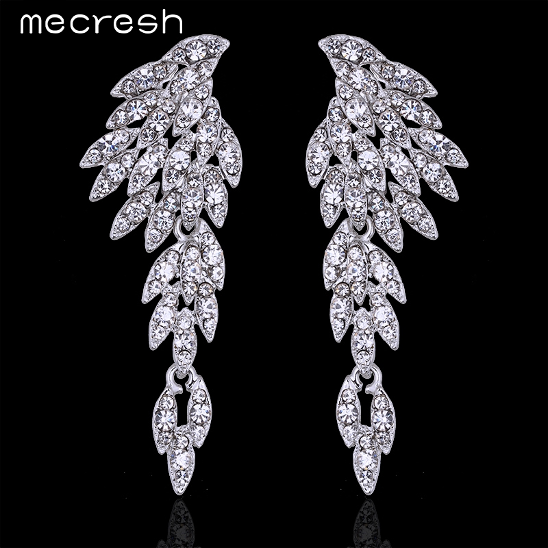 Mecresh 5 Colors Crystal Long Earrings for Women Eagle Silver Color Bridal Wedding Earrings Fashion Jewelry 2017 EH209