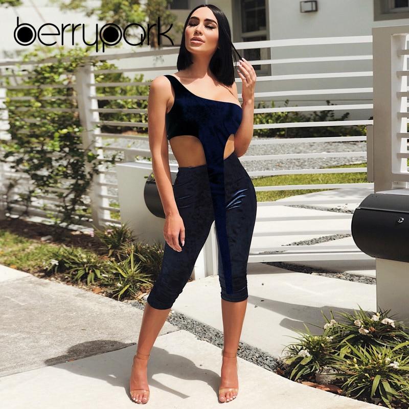 ce0490acff BerryPark Kim Kardashian Velvet Outfits 2019 Winter Fashion Casual Women  Velour One Shoulder X Long Top and Pants 2 Piece Set