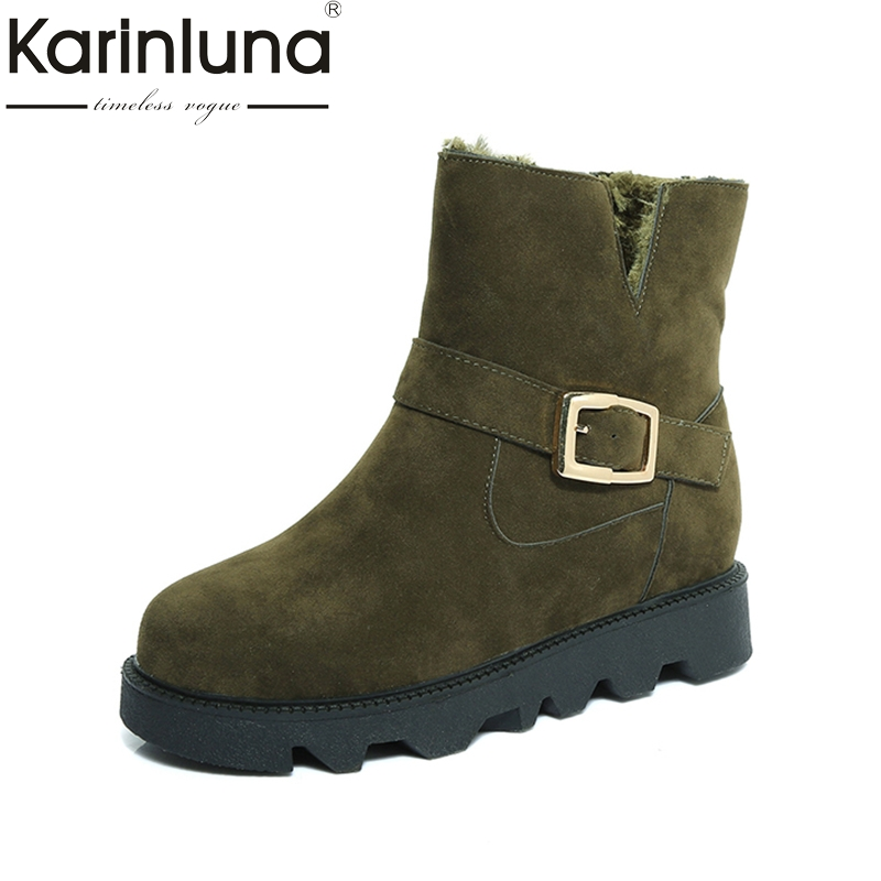 KARINLUNA 2017 size 35-40 platform flat heel woman shoes casual add plush  buckle ankle boots women snow boots warm fur black black women boots flat heel casual