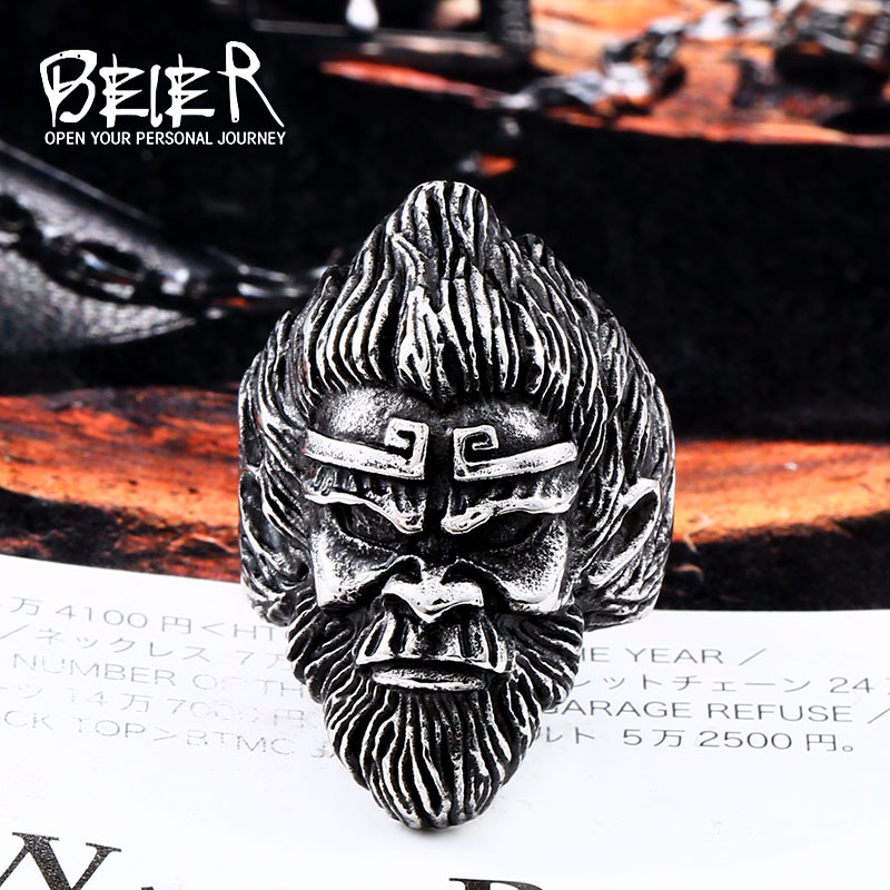 Beier new store 316L Stainless Steel china WU KONG ring for men King Kung Fu High-qualit ...