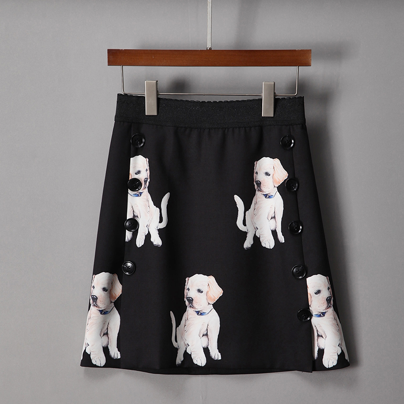 2018 New Spring Dogs Print Cute Short Skirts European High Quality Above Knee Mini Fashion Pretty Black Women Skirts texon 650
