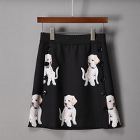 2018 New Spring Dogs Print Cute Short Skirts European High Quality Above Knee Mini Fashion Pretty Black Women Skirts