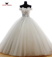 Ball Gown Wedding Dresses 2018 New Fashion Fluffy Tulle Lace Romantic Bridal Wedding Gown Custom Size