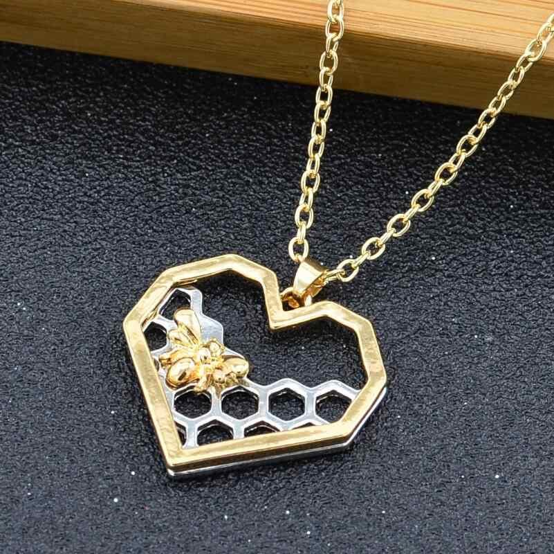 Thời trang cho Phụ Nữ Trái Tim Cô Gái Tổ Ong Bee Animal Pendant Necklace Choker Jewelry Đảng Prom Món Quà thả vận chuyển