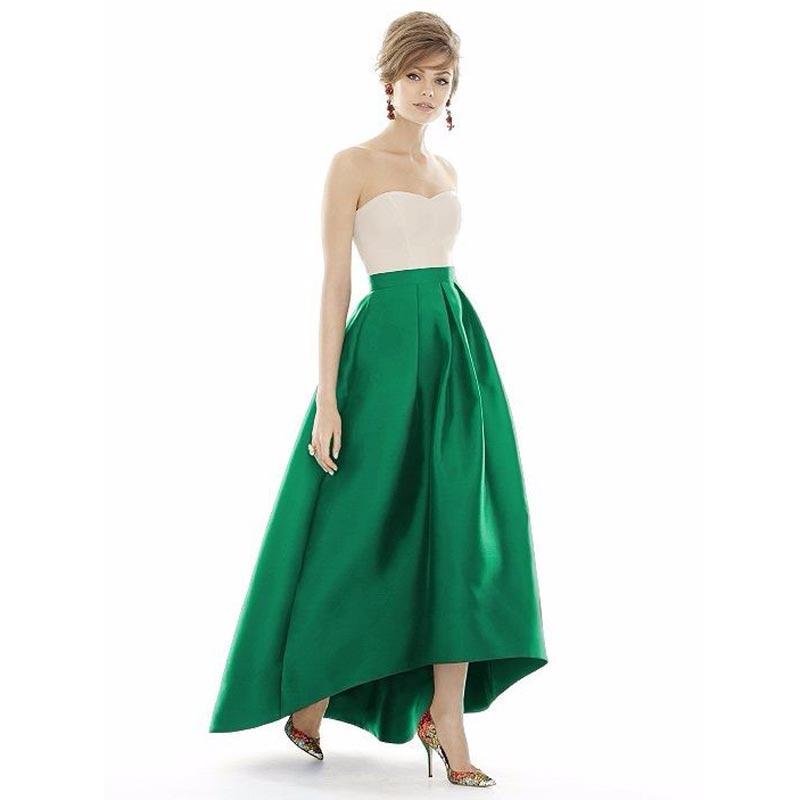 Emerald Green Color High Low Long Satin Skirt High Quality Custom Made Long Maxi Skirt 2016