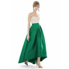 Изумрудно-Зеленая длинная сатиновая юбка высокого качества на заказ, длинная юбка макси на молнии