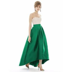 fb8da12210 WDPL Green Color Satin Long Maxi Skirt Zipper Style
