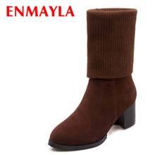 Platform Mid-Calf Flock + Knitting snow boots winter fashion Pointed Toe women boots casual shoes sexy women boots shoes xiaying smile winter women snow boots warm antieskid mid calf boots platform strap slip on flats casual women flock rubber shoes