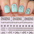 3D Nail Art Stickers Silver Embossed Texture Bowknot Heart Lace Pattern Decals - 6pcs
