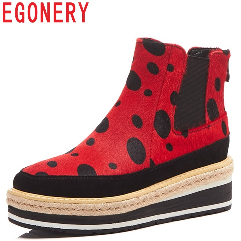 EGONERY 2018 newest fashion polka dot hores hair high wedges platform zip ankle boots winter outdoor warm yellow and red shoes lf30834 red black white polka dot ankle strap wooden wedges platform clogs party sandals