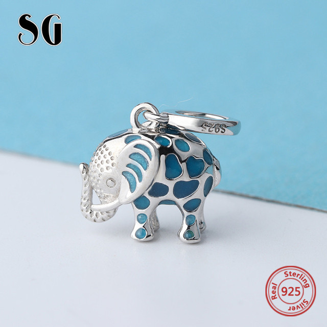 0ebcc5d7b Fit authentic pandora charms Bracelet silver 925 cute glowing elephant  pendant beads with enamel diy jewelry making women Gifts