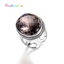 Rainbamabom Vintage Nyata 925 Sterling Silver Natural Smoky Quartz Gemstone Pernikahan Pembukaan Adjustable Cincin Perhiasan Grosir(China)