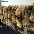 2016 Nuevo Invierno 100% Real Natural de piel de Mapache Cuello de Piel y Bufandas para mujer Capa de La Manera Suéter de Cuello Bufandas de Cuello De Lujo Cap D88