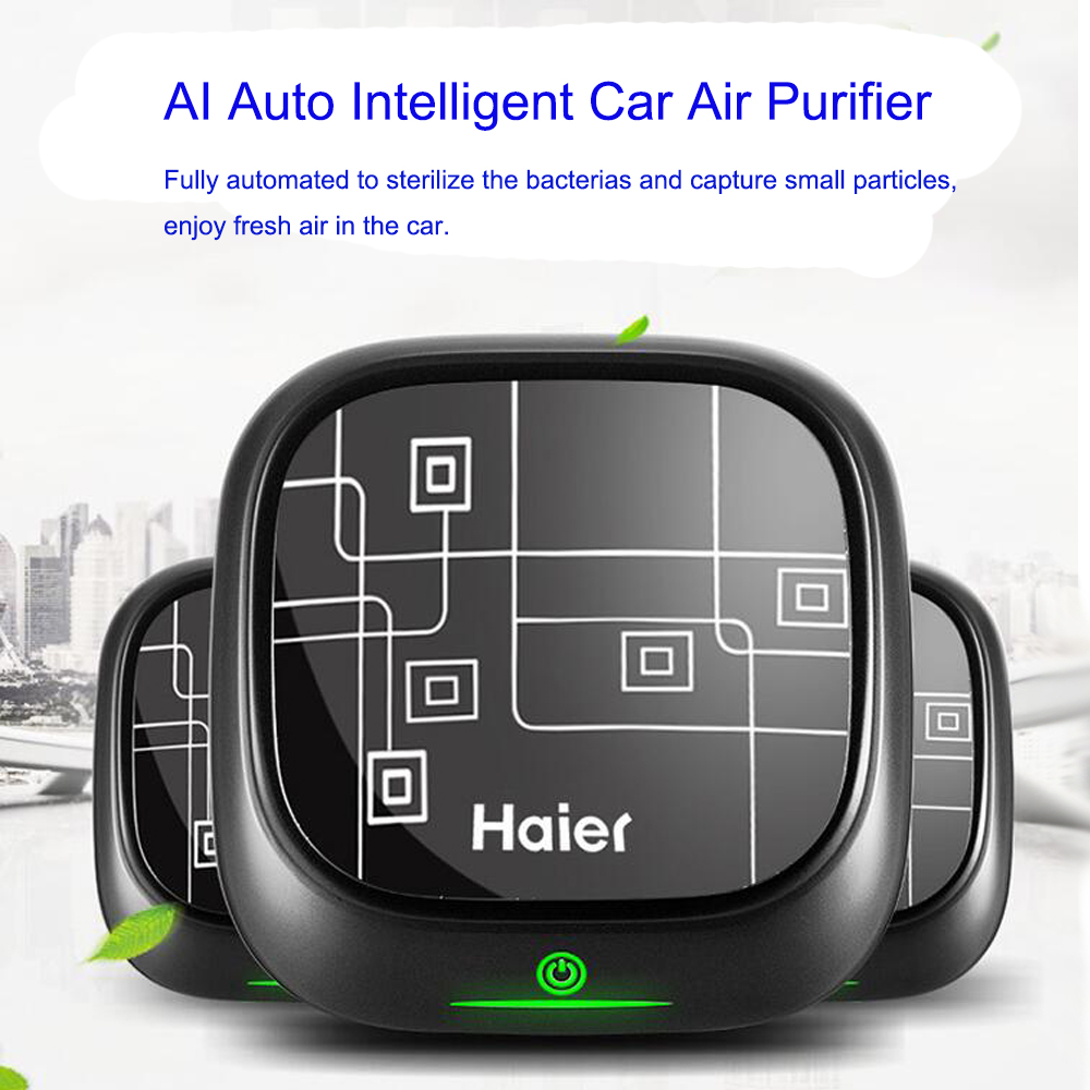 Haier Car Air Purifier with Ionizer 15million cm3 Auto Intelligent Purification with Light Indicator Aroma Free