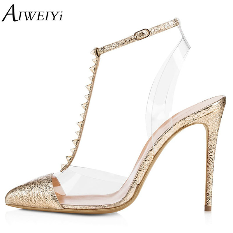 AIWEIYi 2018 Summer Women Shoes Pointed Toe Stiletto High Heel Pumps Dress Shoes High Heels Gold Transparent PVC Shoes Woman aiweiyi women s pumps shoes 100