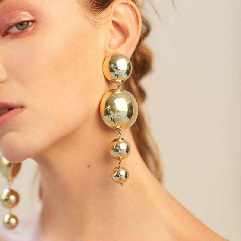 RscvonM Punk Style Big Metal Beads Earrings Long Drop Earrings Women Party Statement Hanging Dangle Earrings Fashion Jewelry