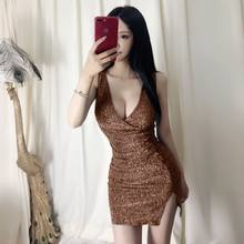 Bling Bandage Dresses 2019 New Low Cut Summer Deep V Neck Sexy Bodycon Dress Women Backless Party Club Dress Black Side Split(China)