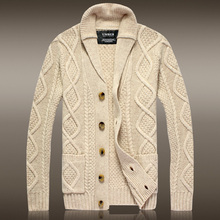 """Pullover Men New Promotion """"european And American Style Wool Acrylic Full 2017 Men's Lapel Cardigan Sweater Thick Coat Slim"""