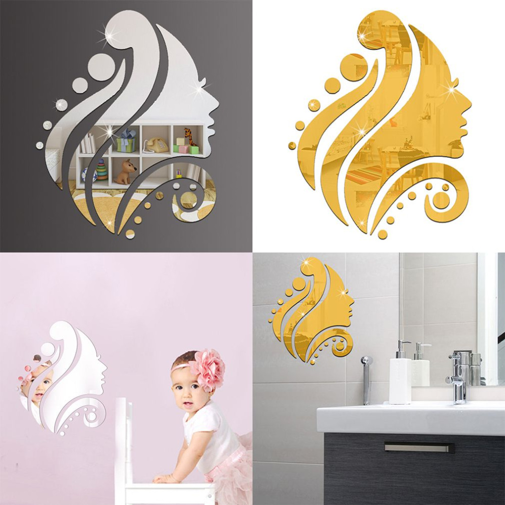 compare prices on glass wall decor online shopping buy low price 2017 newest diy 3d beauty style mirror wall sticker creative design glass surface wall decorative stickers