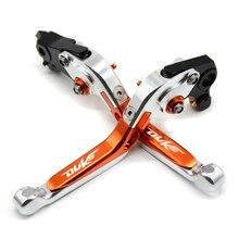 CNC Motorcycle Folding Extendable Adjustable  Aluminum Brakes Clutch Levers For KTM 690 Duke R 2014 2015 2016 with logo цена и фото