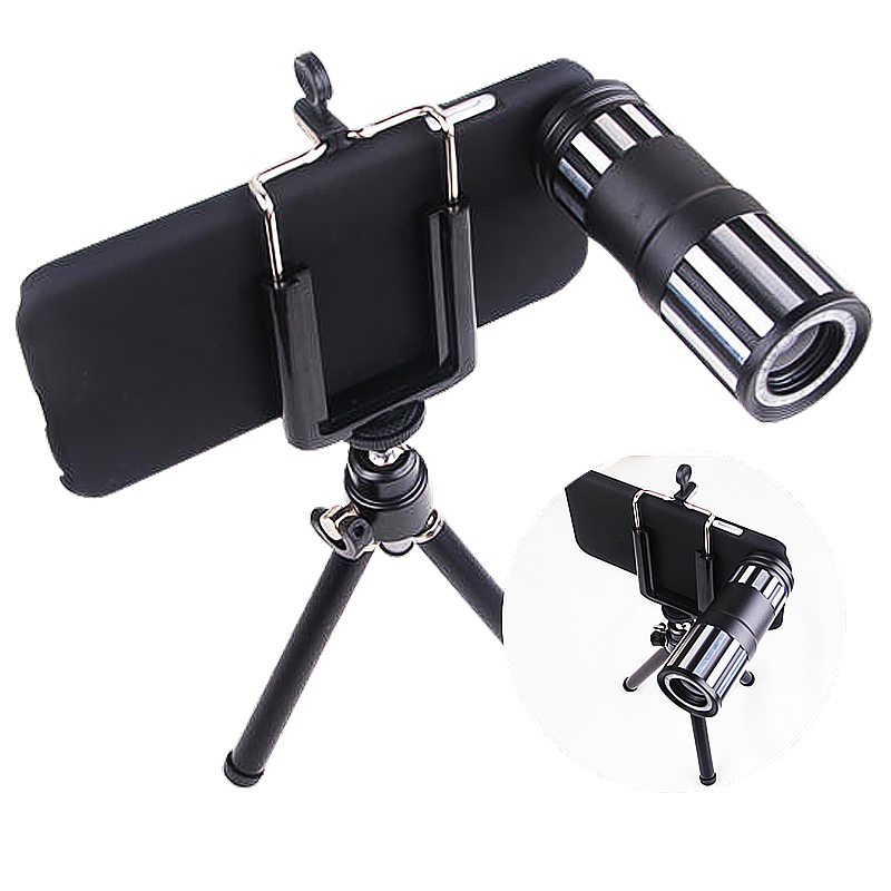 New 12X Telephoto Lens for Apple iPhone 6 4.7 Inch Black Mobile Phone Lenses 90 Degree HD Wide Angle With Tripod + Case + Clip