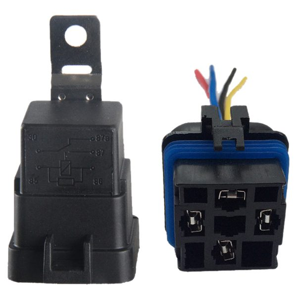 40 Amp Waterproof Relay Switch Harness Set - 12V DC 5-Pin SPDT Automotive Relays 12 AWG Hot Wires 5 pcs 1no 1nc spdt ceramic socket 5 pin connecting car relay dc 12v 40 amp