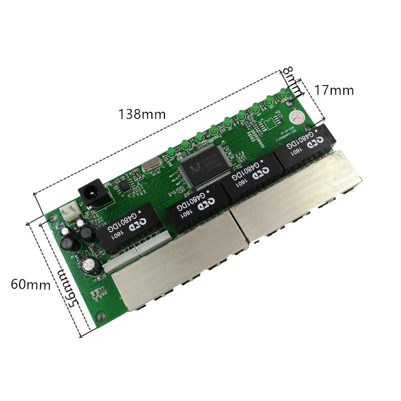 Image 2 - OEM PBC 8 Port Gigabit Ethernet Switch 8 Port met 8 pin way header 10/100/1000 m hub 8way power pin Pcb board OEM schroef gat-in Network Switches from Computer & Office