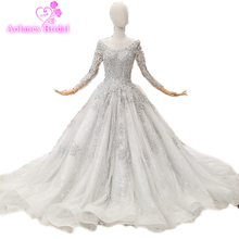 Grey Long Sleeves 3d Flower Beading Crystal Gowns Elegant Luxury Bridal Dress Robe De Soiree Longue 2018 New Real Picture