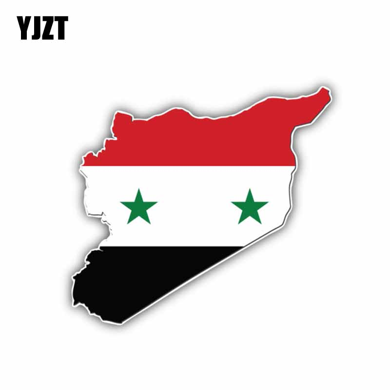 YJZT 11CM*10CM World Syria Flag International Map Car Sticker Reflective Decal 6-0870