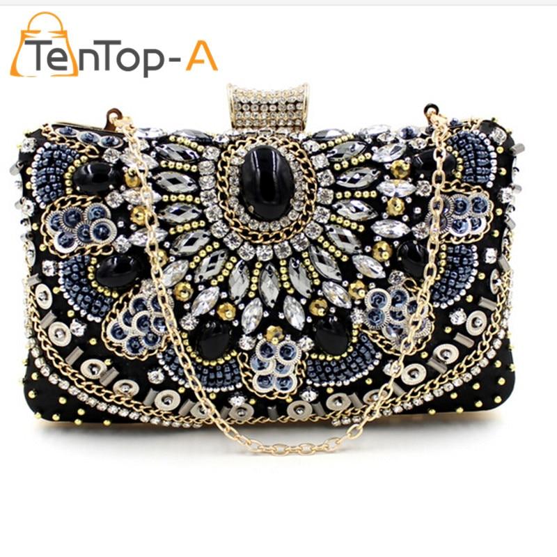 TenTop-A bolsa feminina Plastic Stone Beaded Pearl Rivets Chain Metal Black Evening Clutch Bag Upscale Styling Day Clutches Sale