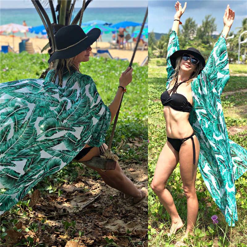 76d4fc8056 ... Green Bohemian Feathers Printed Long Kimono Cardigan pareo robe de  plage Women Summer Beach Tops Blouse ...