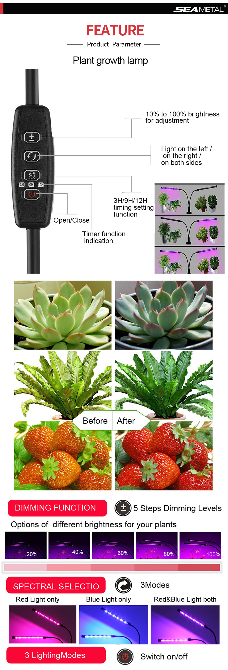 2 Led Grow Light 6W Lamps For Plants Full Spectrum Phyto Lamp Led Seedling Lights Indoor Plant Growing Greenhouse Flower Lamps
