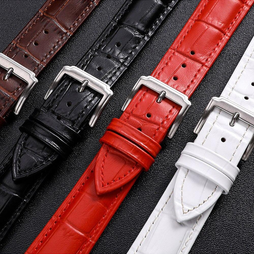 67388b88b622 Correa de reloj de cuero genuino, 22mm, 18mm, 14mm, 20mm, mm correas de  hombres mujeres negro colores marrón banda de reloj accesorios hebilla ...