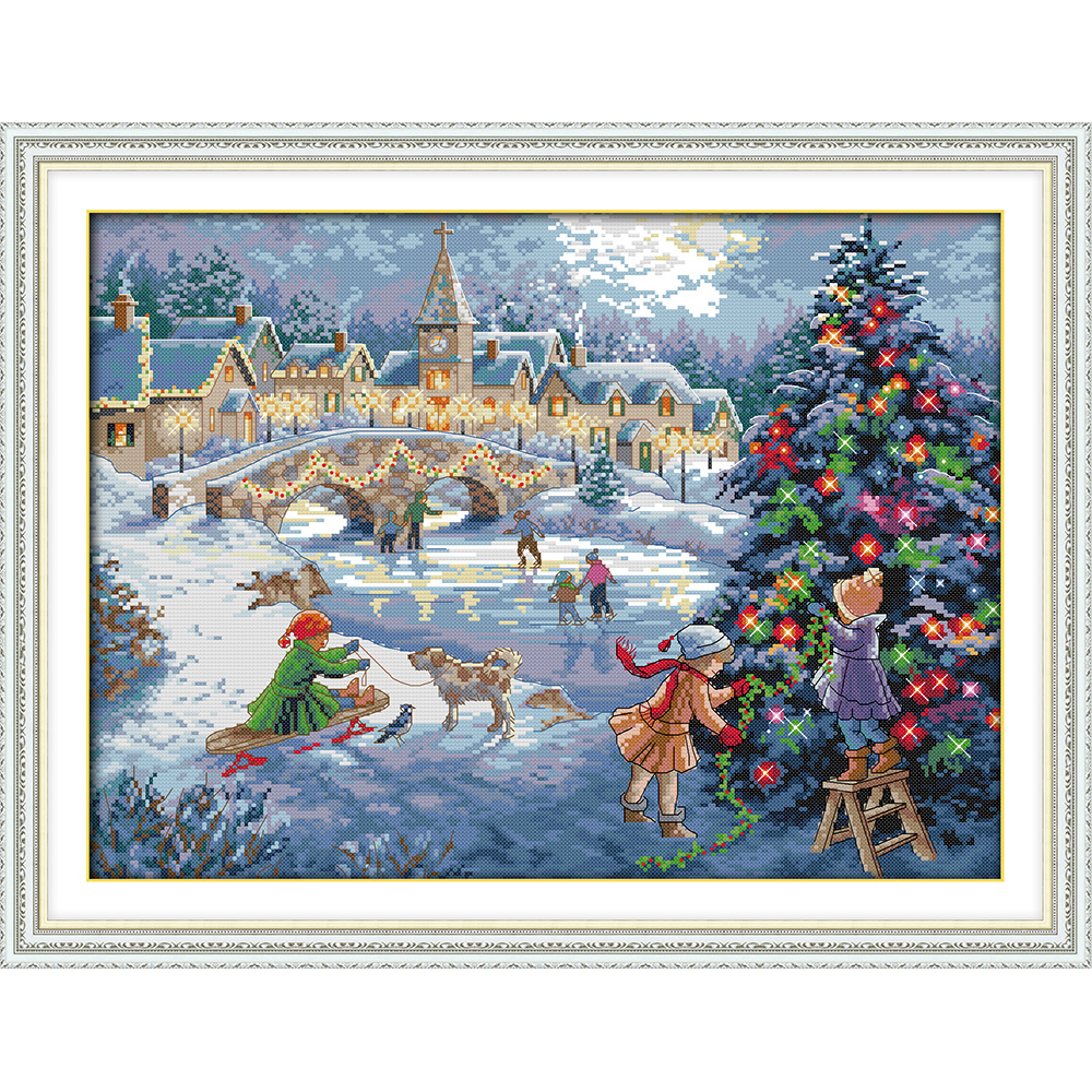 Everlasting love A Christmas celebration Ecological cotton Cross Stitch 11CT and 14CT Printed New store sales promotion