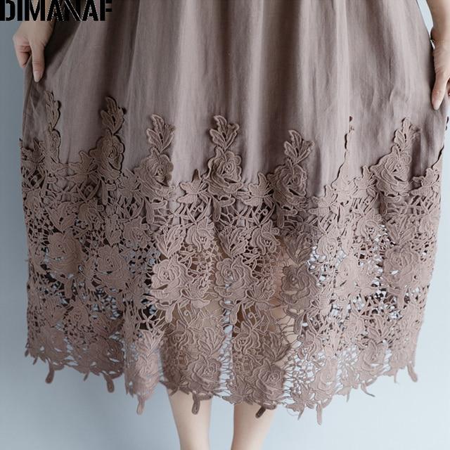Women Dress Plus Size Summer Cotton Femme Lady Elegant Vestidos Pleated Lace Spliced Solid Black Loose Long Dresses 5