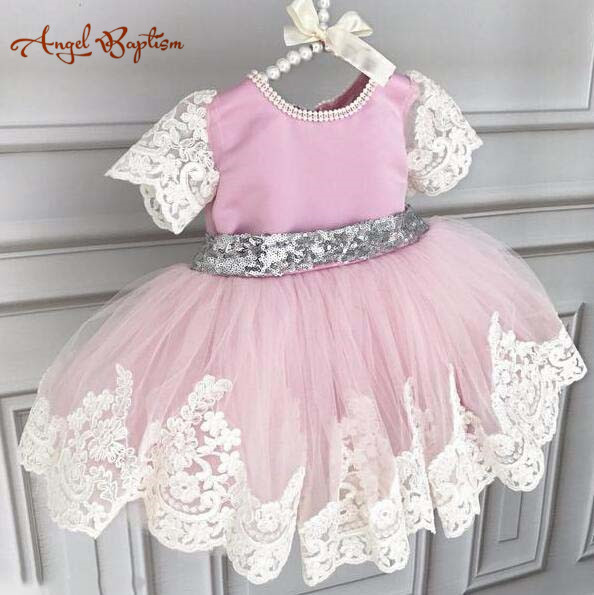 Gorgeous sparkly pink satin and silver sequins bow with lace short sleeves baby birthday party dresses kids flower girl dress lilac tulle open back flower girl dresses with white lace and bow silver sequins kid tutu dress baby birthday party prom gown