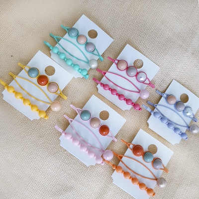 3/4 pcs/Set Candy Color Imitation Pearl Hair Clip Sweet Cute Bobby Pin Barrettes Korea Geometric Hair Styling Accessories