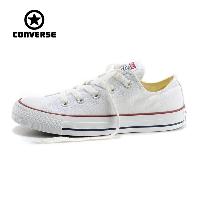 White Converse All Star Sneakers Unisex Low Top Skateboarding Shoes Anti-Slippery Rubber ...