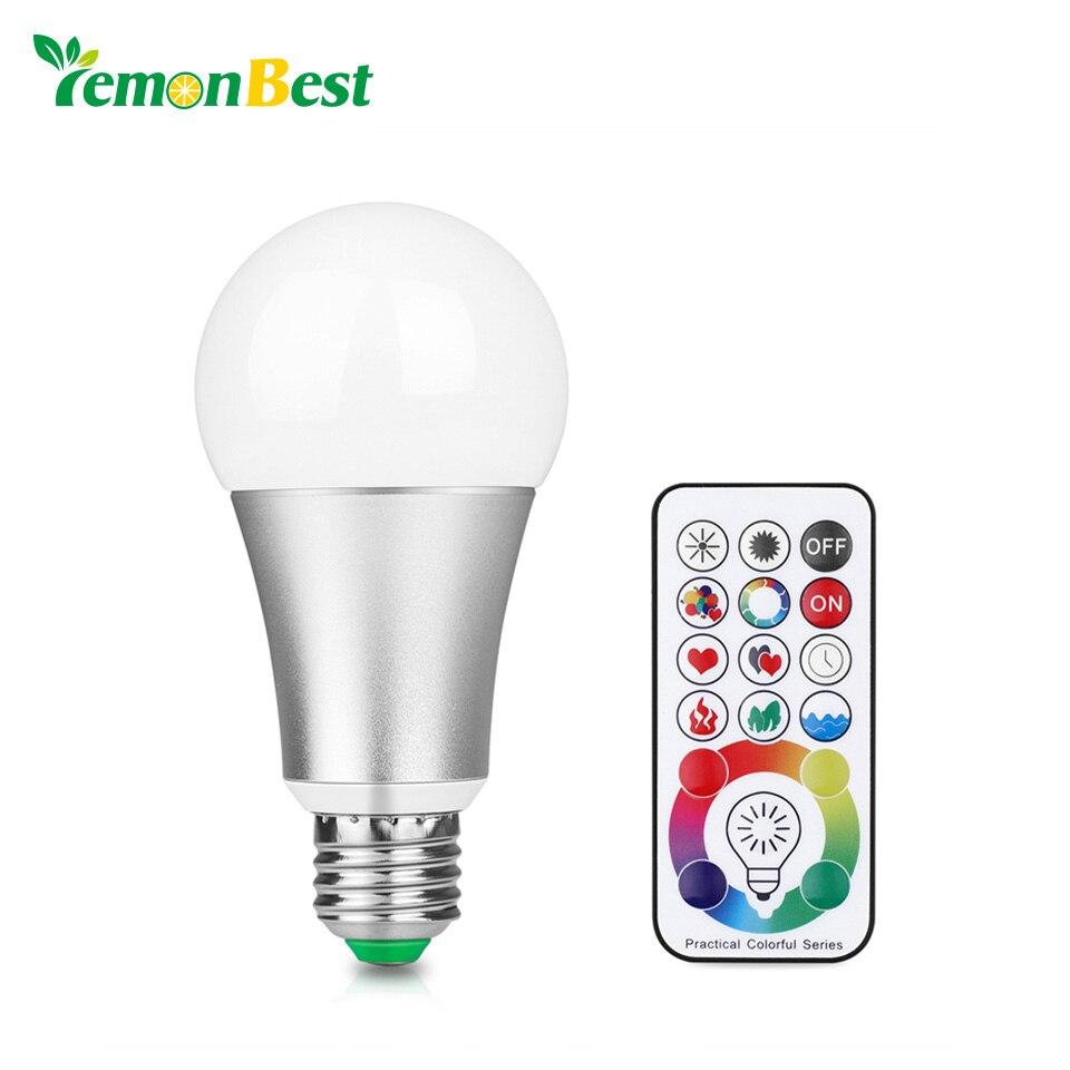 LemonBest 10 W RGB W E27 LED Ampoule Étape Lampe 220 V En Aluminium Lumière 120 Couleurs Télécommande Mémoire Fonction AC 85-265 V