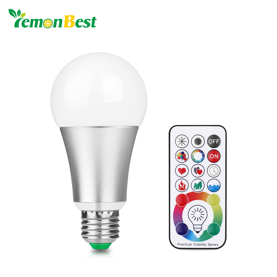 LemonBest 10W RGB W E27 LED Bulb Stage Lamp 220V Aluminum Light 120 Colors Remote Control Memory Function AC 85-265V e27 10w led ball bulb lamp rgb w remote control silver ac 85 265v
