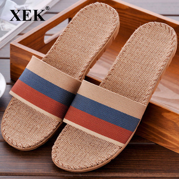 XEK Hot New Summer Men Canvas Linen Non-Slip Designer Flat Sandals Home Slippers Man Fashion Slides Casual Straw Shoe GSS48 slipper